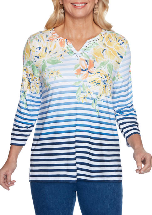 Alfred Dunner Womens Lazy Daisy Striped Floral Yoke
