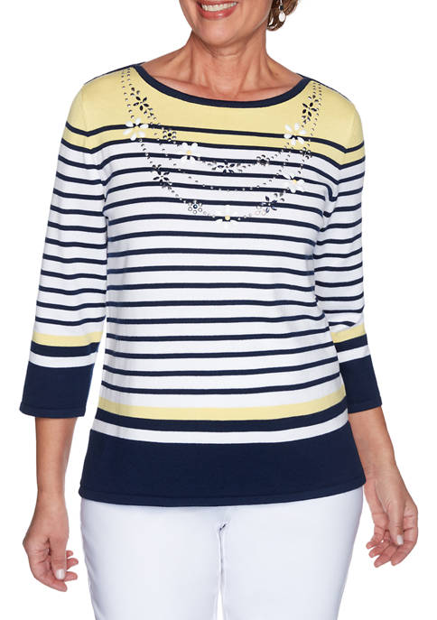 Womens Lazy Daisy Engineered Stripe Sweater with Necklace