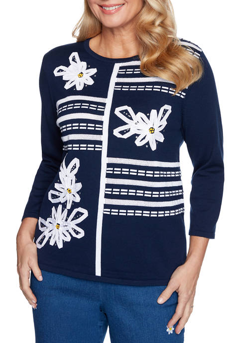 Alfred Dunner Womens Lazy Daisy Ribbon Floral Appliqué