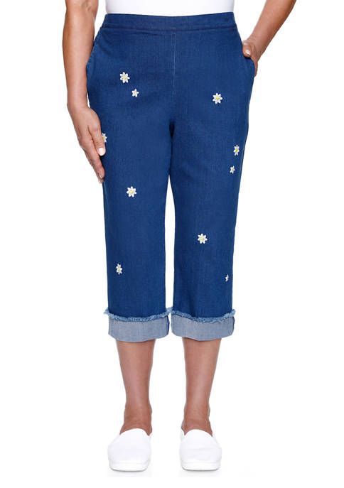 Alfred Dunner Plus Size Lazy Daisy Embroidered Denim