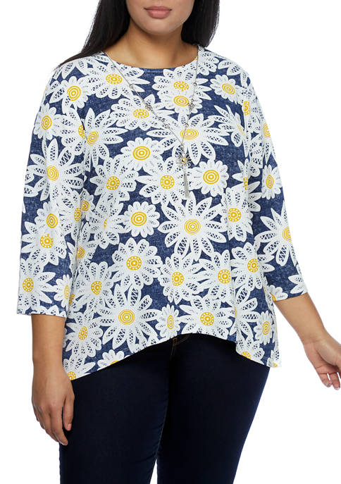 Alfred Dunner Plus Size Lazy Daisy 3/4 Sleeve