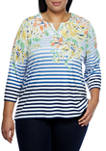 Plus Size Lazy Daisy 3/4 Sleeve Stripe Floral Top