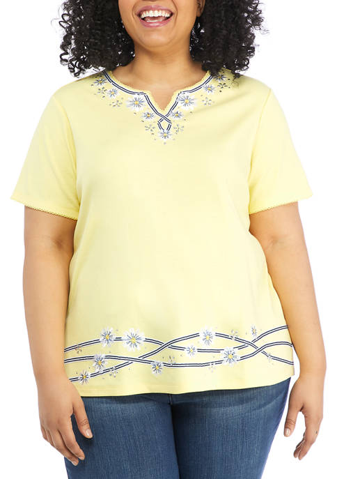 Alfred Dunner Plus Size Lazy Daisy Short Sleeve