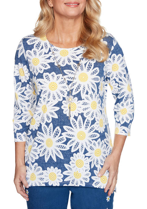 Alfred Dunner Petite Lazy Daisy 3/4 Sleeve Knit