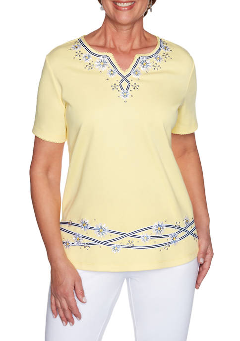 Alfred Dunner Petite Lazy Daisy Short Sleeve Ribbon