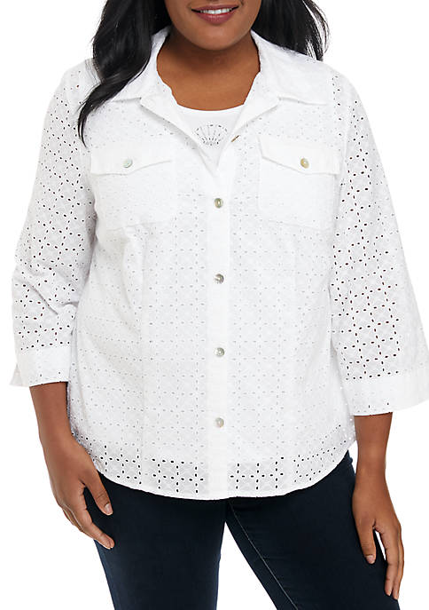 Alfred Dunner Plus Size Eyelet Button Down 2Fer