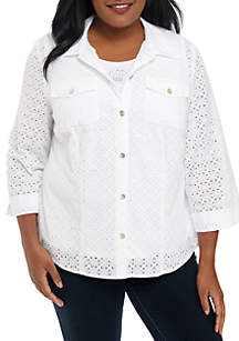 Alfred Dunner Plus Size Eyelet Button Down 2Fer Top