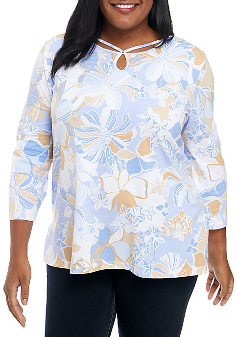 Alfred Dunner Plus Size Keyhole Neck Floral Knit