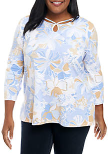 31c3630230c ... Alfred Dunner Plus Size Keyhole Neck Floral Knit Top