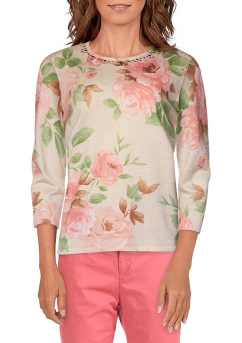Womens Springtime in Paris Floral Sweater