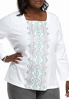 Alfred Dunner Plus Size Mint To Be Vertical Embroider Knit Top