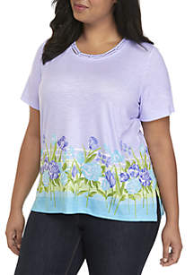 Plus Size Studded Floral Top