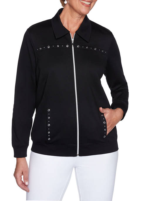 Alfred Dunner Womens Clean Getaway Knit Jacket