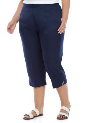 Alfred Dunner Womens Plus Size Clean Getaway Medium Pants