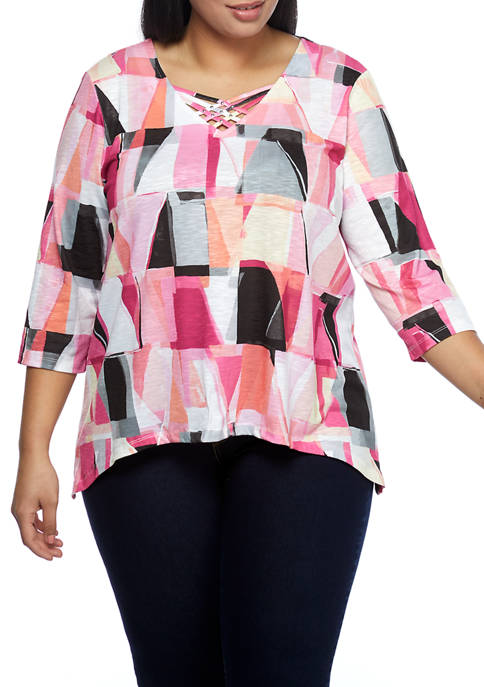 Alfred Dunner Plus Size Clean Getaway Stained Glass