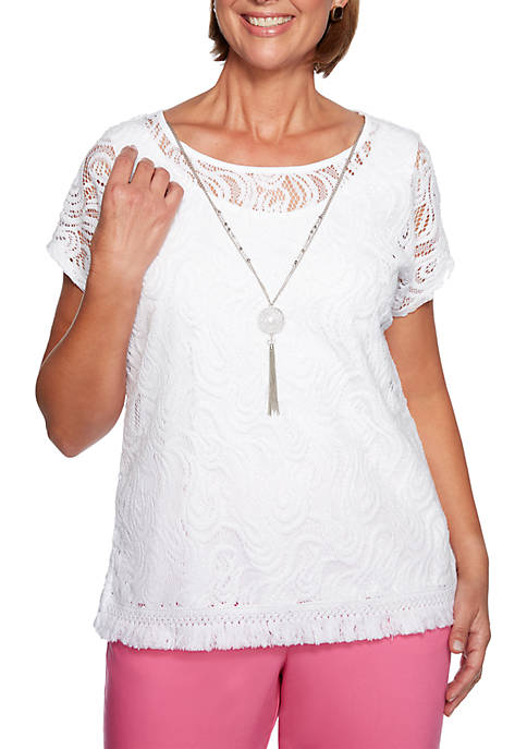 Alfred Dunner Petite Palm Coast Solid Lace Knit