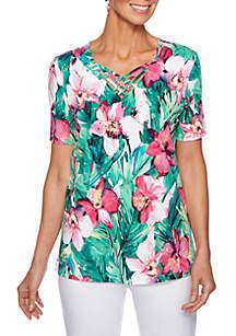 Petite Palm Coast Hibiscus Knit Top