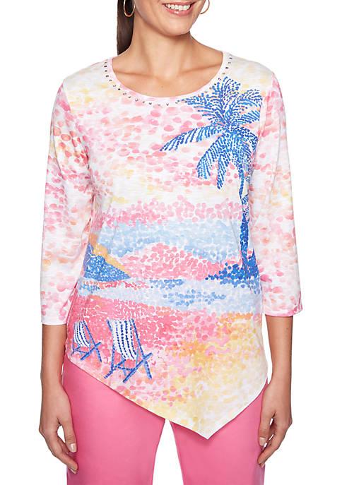 Petite Palm Coast Scenic Knit Top