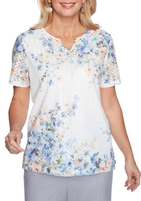 Alfred Dunner Womens French Bistro Asymmetric Flowers Top