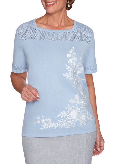 Alfred Dunner Womens French Bistro Asymmetric Flower Sweater