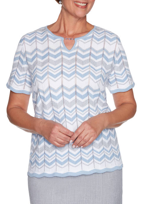 Alfred Dunner Womens French Bistro Zig Zag Biadere