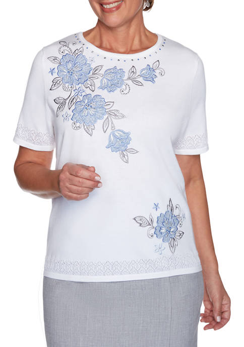 Womens French Bistro Yoke Floral Sweater