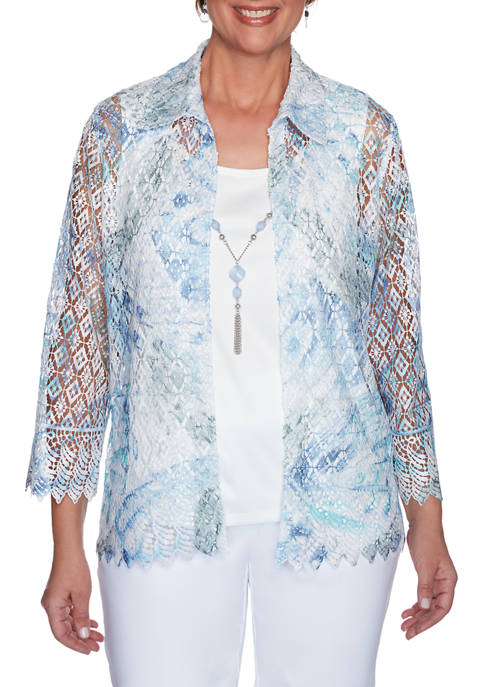 Plus Size French Bistro Lace Floral 2Fer Top