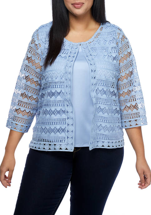 Plus Size Lace 3/4 Sleeve Two for One Top