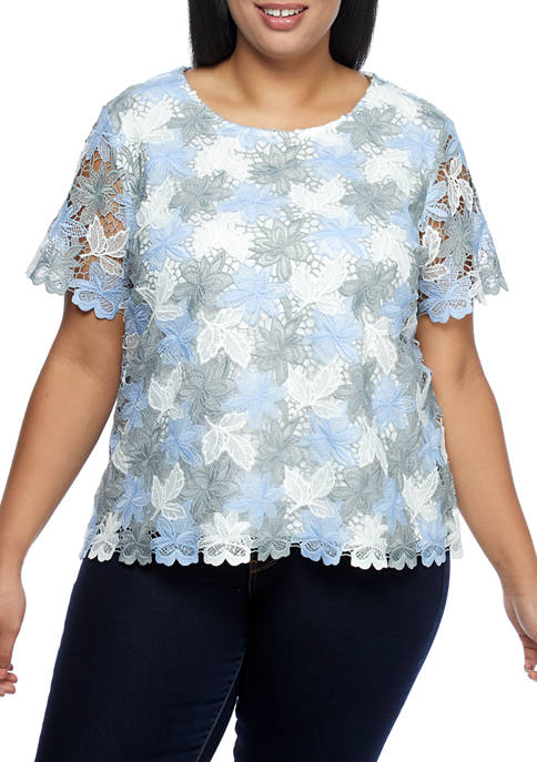 Plus Size Short Sleeve Lace Stretch Floral Top