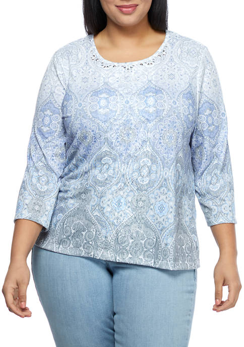 Alfred Dunner Plus Size 3/4 Sleeve Medallion Print