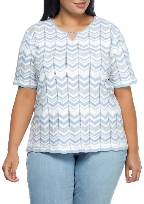 Alfred Dunner Plus Size Short Sleeve Chevron Biadere