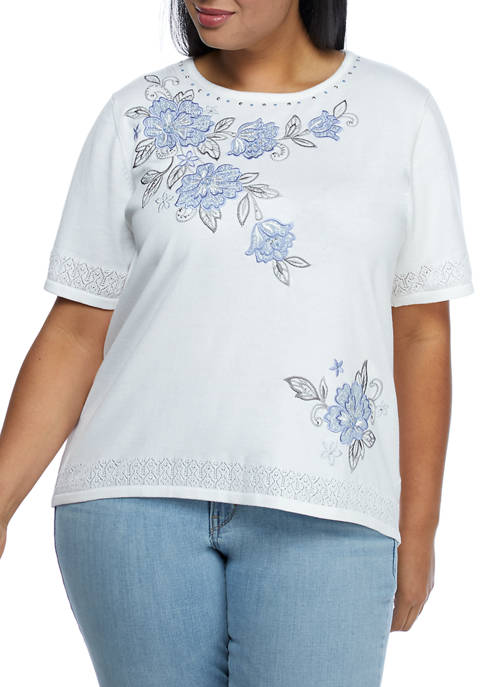 Plus Size Short Sleeve Yoke Floral Top