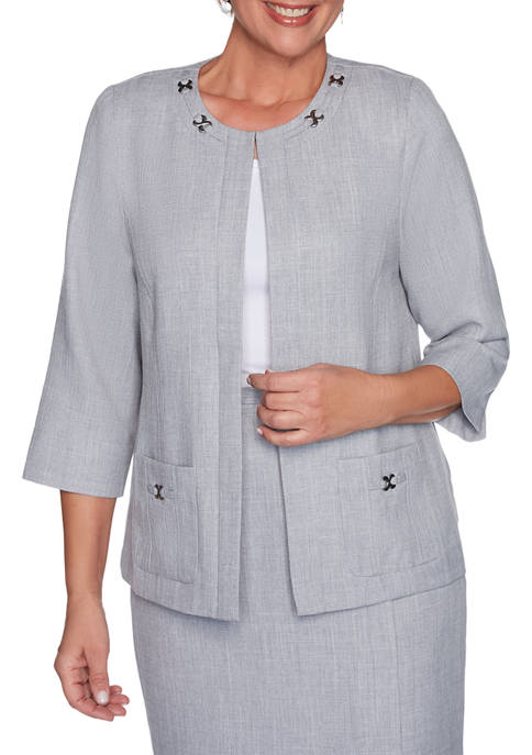 Alfred Dunner Petite French Bistro Solid Jacket