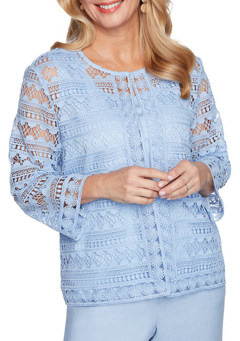 Petite French Bistro 3/4 Sleeve Lace Top