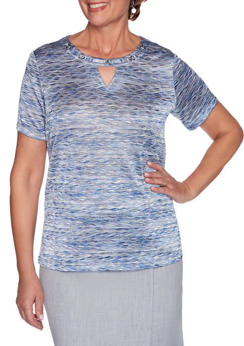 Alfred Dunner Petite French Bistro Short Sleeve Space