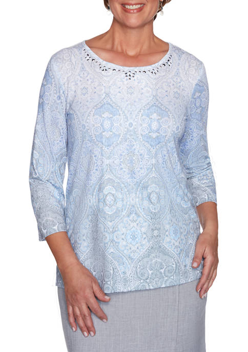 Alfred Dunner Petite French Bistro Medallion Top