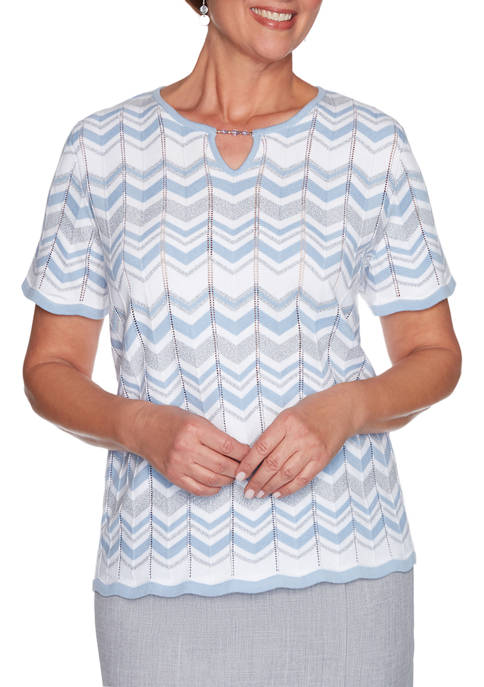 Alfred Dunner Petite French Bistro Short Sleeve Zig