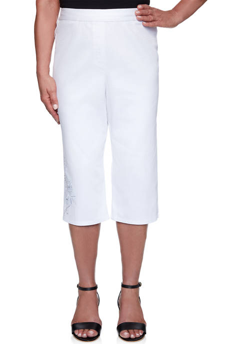 Alfred Dunner Womens Anchors Away Rope Embroidered Capris