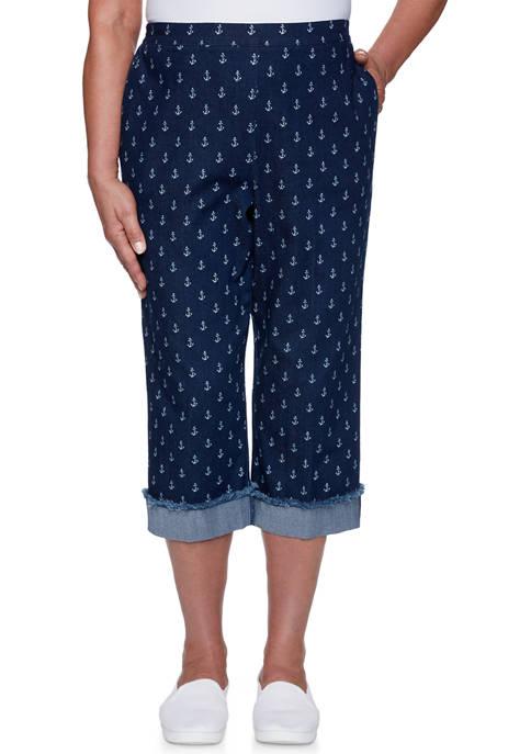 Alfred Dunner Womens Anchors Away Printed Capri Pants