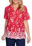 Womens Tossed Floral Collared Shirt