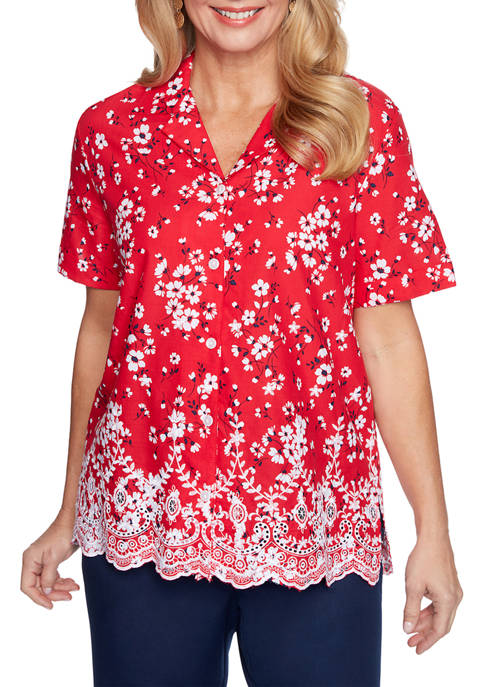 Alfred Dunner Womens Tossed Floral Collared Shirt