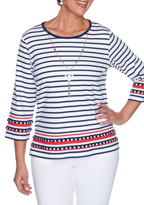 Alfred Dunner Womens Anchors Away Border Stripe Top
