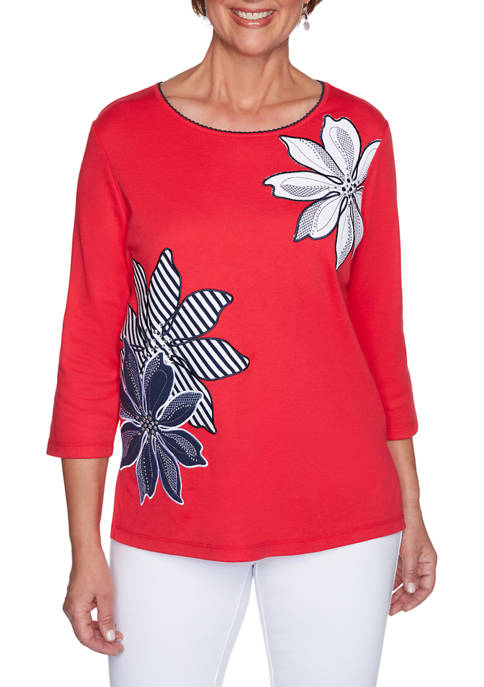 Alfred Dunner Womens Anchors Away Exploded Floral Appliqué