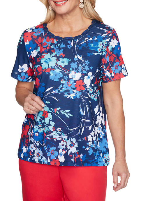 Alfred Dunner Womens Short Sleeve Abstract Floral Top