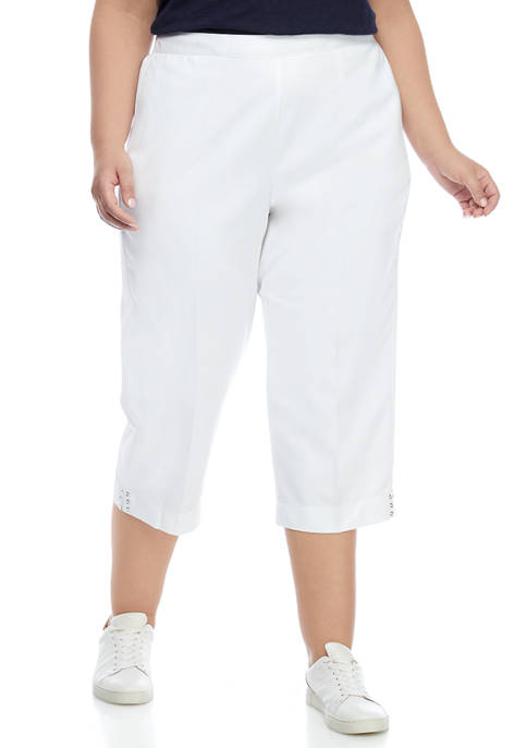 Alfred Dunner Plus Size Cuffed Capri Pants