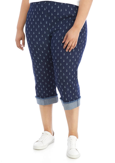 Alfred Dunner Plus Size Anchors Away Printed Capris