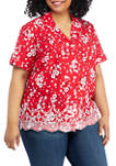Plus Size Anchors Away Short Sleeve Tossed Floral Shirt