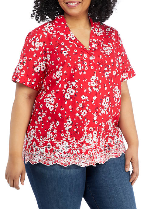 Alfred Dunner Plus Size Anchors Away Short Sleeve