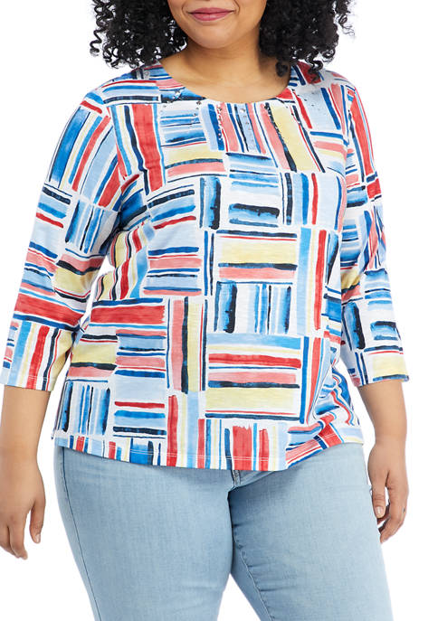Plus Size Anchors Away 3/4 Sleeve Etched Pintuck Top