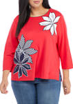 Plus Size Anchors Away 3/4 Sleeve Knit Top